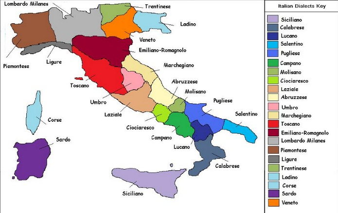 Map Of Italian Languages And Dialects - Languages spoken by country