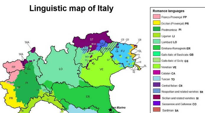 Map Of Italian Languages And Dialects Explore To World - Map of italy