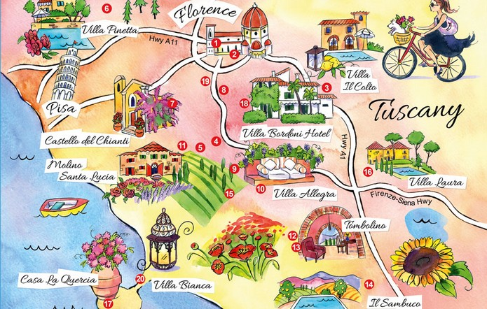 Map Of Tuscany With Major Cities Places Explore To World - Map tuscany