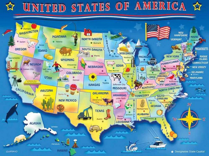 Map Of USA With Major Cities Places Explore To World - Us map with world map in the corner
