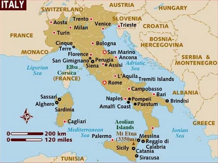 Italys Region Map - Map of italy regions