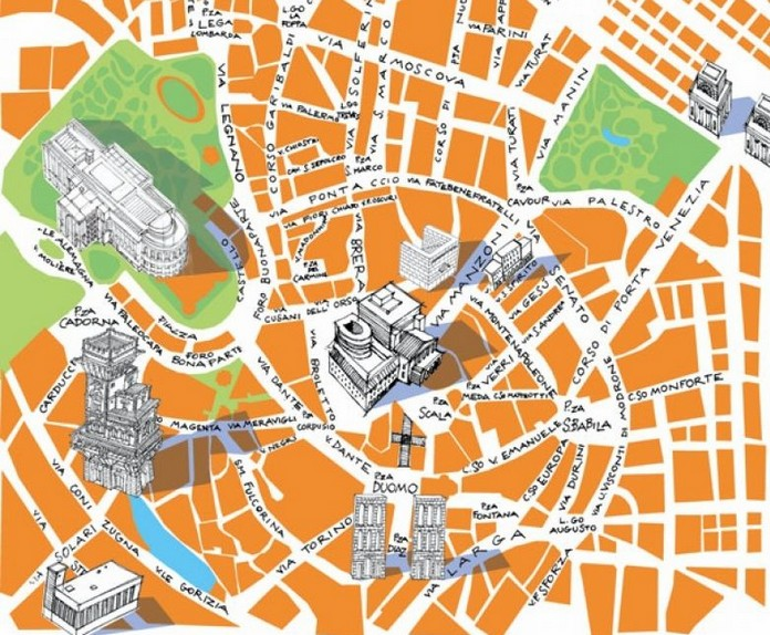Map of Milan with major Places Sights