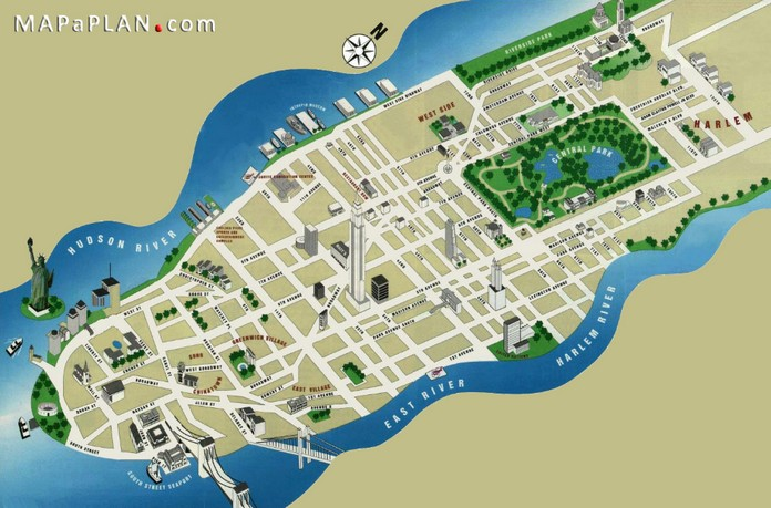 Map of new york with major sights places for Must see nyc attractions