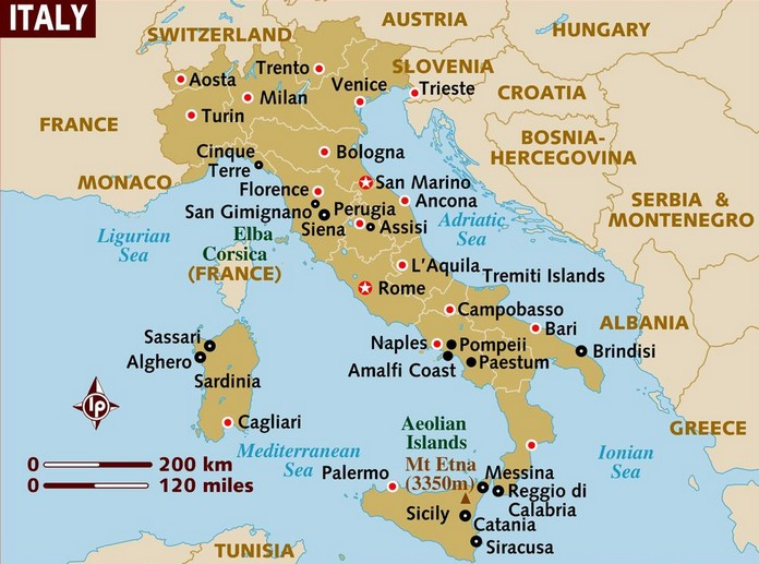The Geography Map of Italy