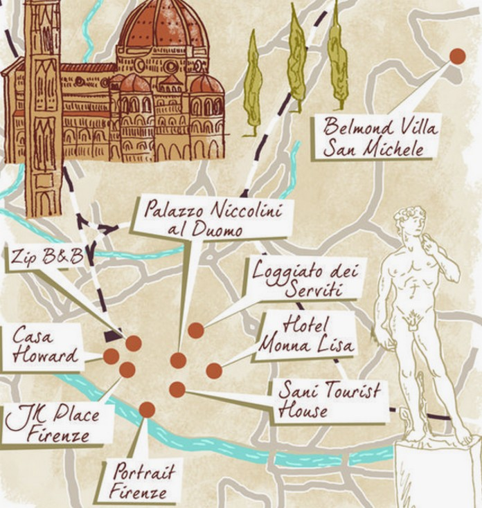 Map of Florence with major Places Sights