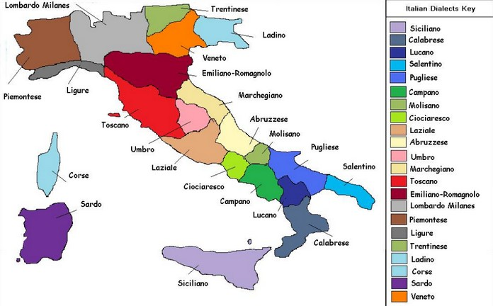 The Map Of The Italian Languages - Italian map