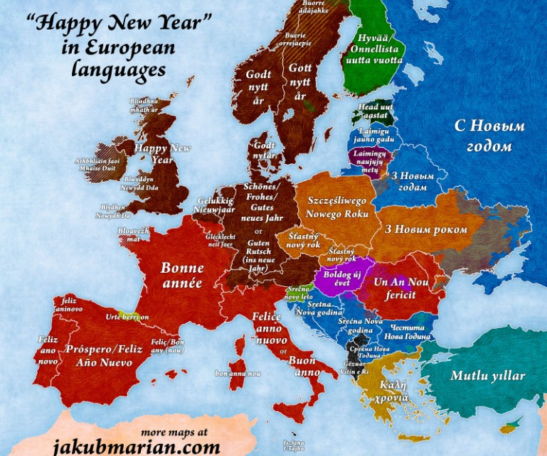 Map Shows Happy New Year In Many Languages - This map shows how long it takes to learn different languages