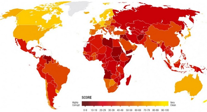 Map with the most corrupt countries in the world denmark was declared the least corrupt nation in the world and somalia the most corrupt how did your country do find out on these maps gumiabroncs Gallery