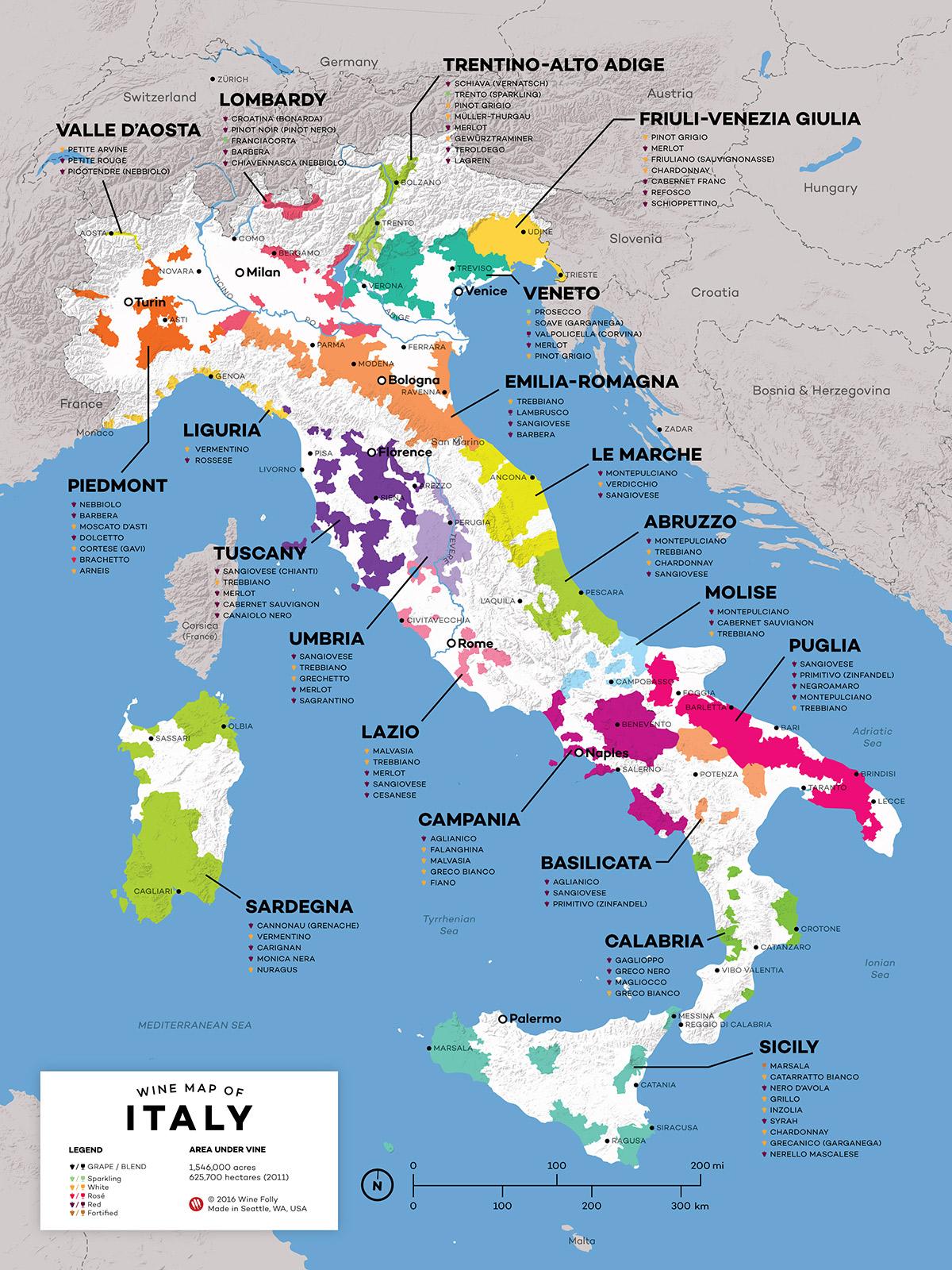 Italy Wine Map | Prasnebarve